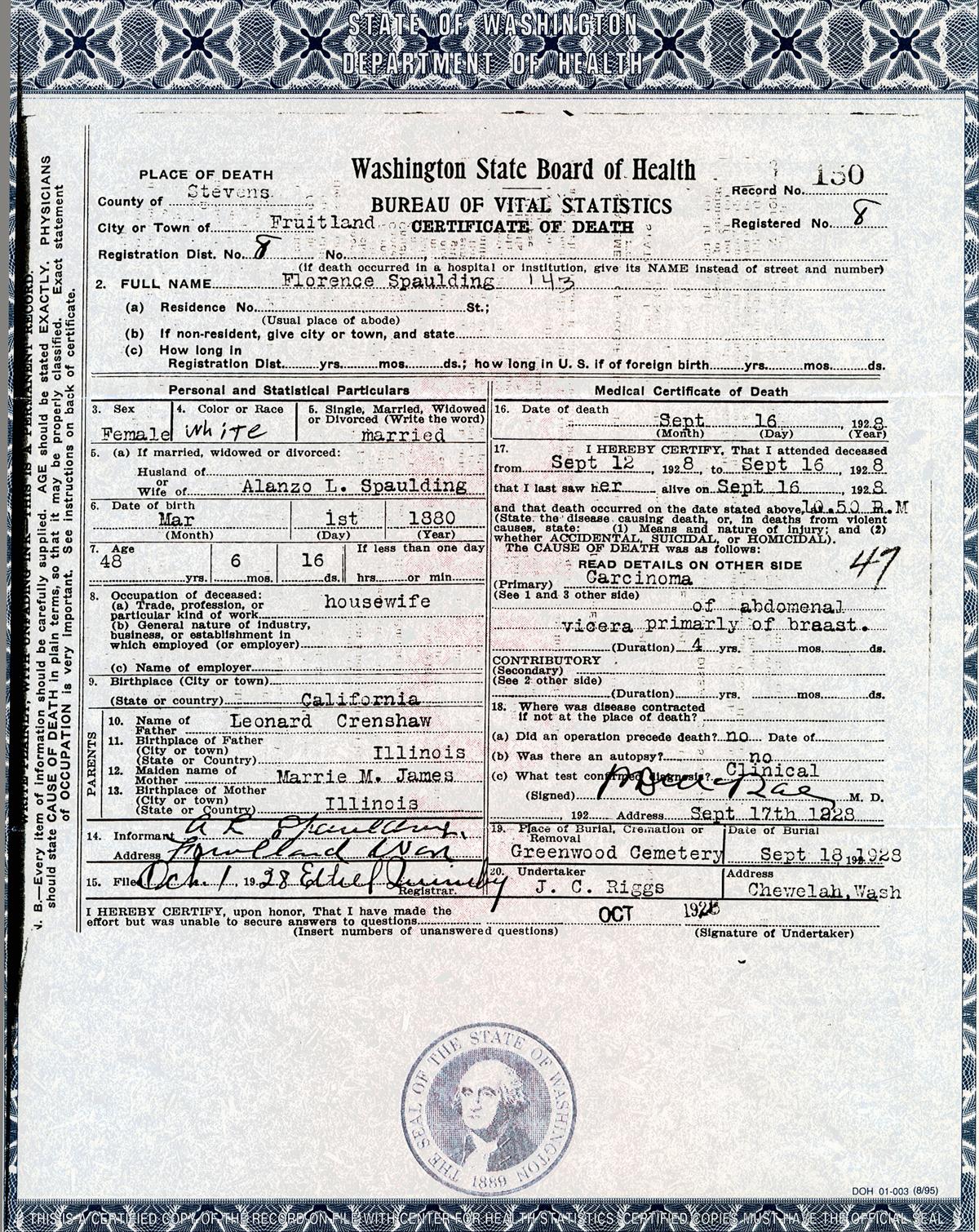 Documents Crenshaw Florence Crenshaw Spaulding Death