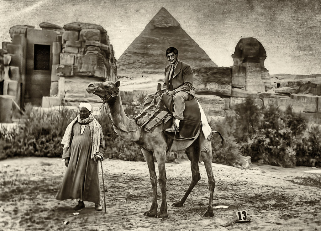 1996-04-06 Riddle of the Sphinx.  Retro: circa 1932, Becker family photo restoration, Giza, Egypt. Anachronistic cameo by Conrad.