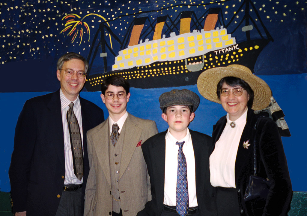 2003-03-10 A Titanic Night at Swanson Middle School. Richard, Conrad, Michael, and Catherine
