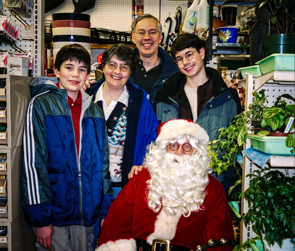 2000-12-16 Holiday Photo with Santa. Michael, Catherine, Richard and Conrad