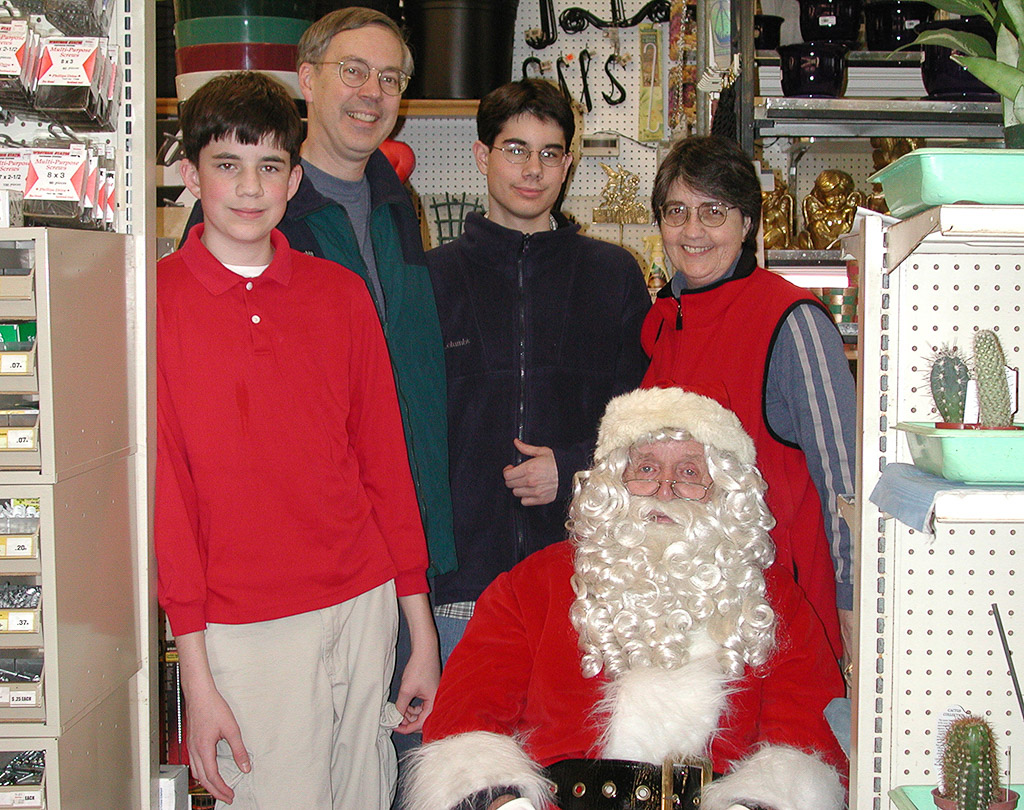 2001-12-15 Holiday Photo with Santa.  Michael, Richard, Conrad and Catherine