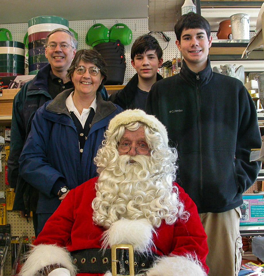 2002-12-21 Holiday Photo with Santa. Richard, Catherine, Michael and Conrad