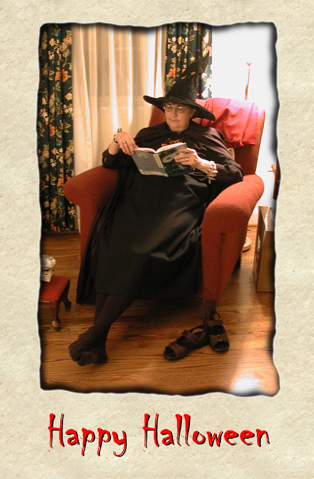 2003-10-31 Happy Halloween! Our favorite witch chills with a good ghost story.