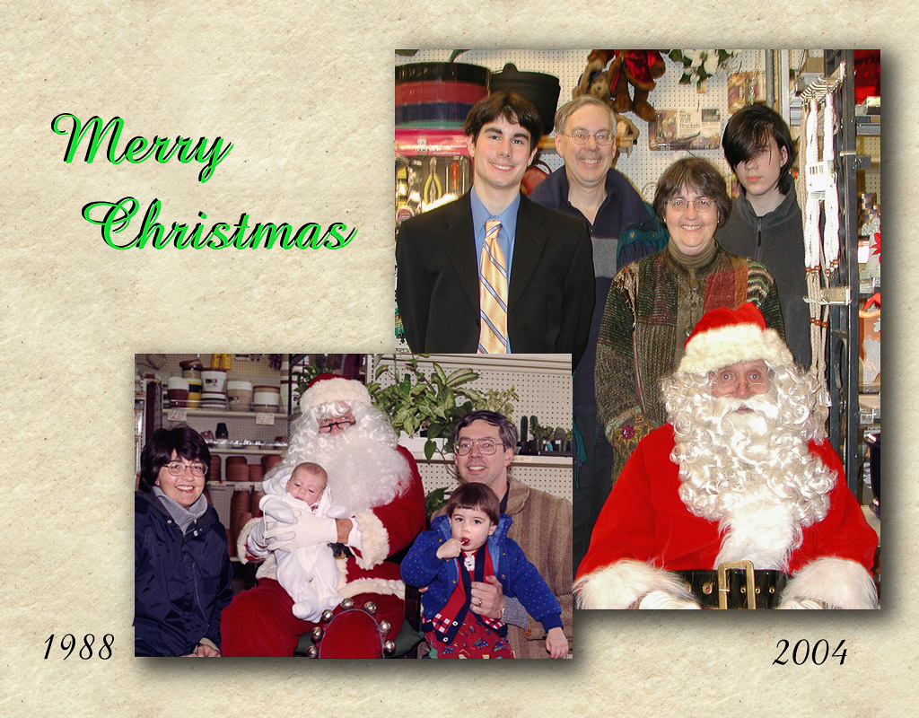 2004-12-17 Holiday Photos with Santa—Then and Now. Catherine, Michael, Conrad, and Richard