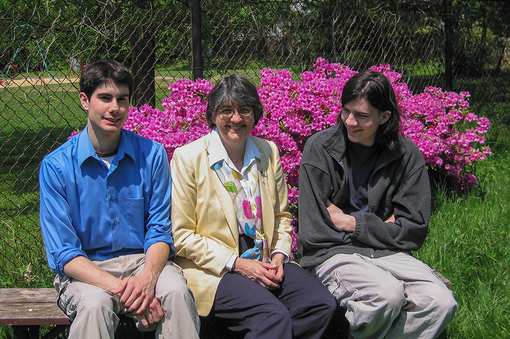 2005-05-08 Happy Mother's Day! Featured in the backgroud, our family's azelea bushes (genus Rhododendron).  Conrad, Catherine and Michael