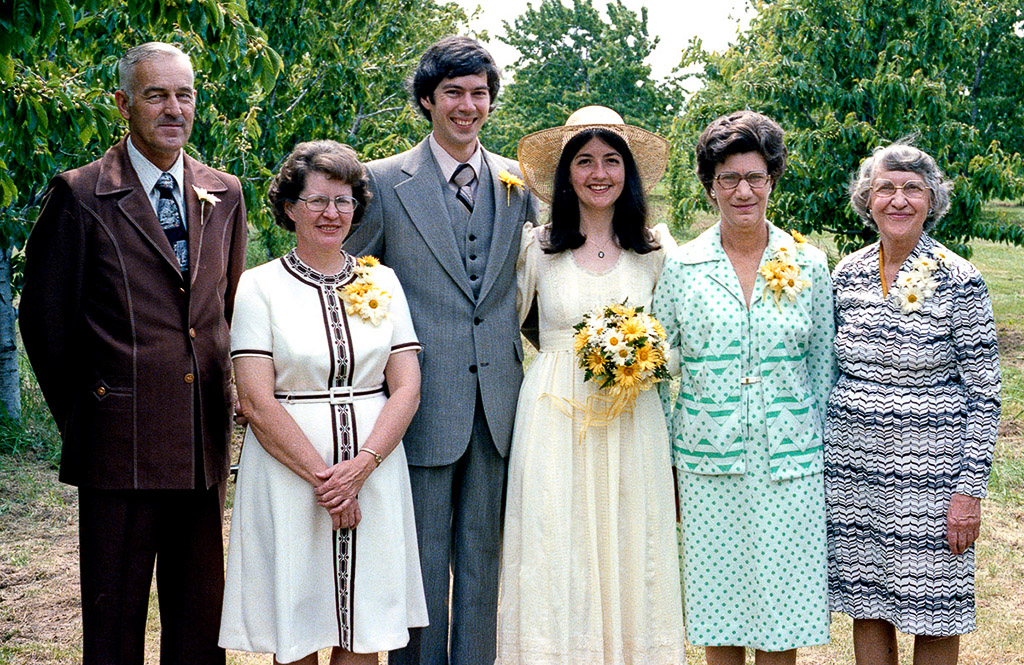 2005-06-11 Wedding Anniversary. Retro: 1977-06-11, Dan, Angie, Richard, Catherine, Iris, and Jo